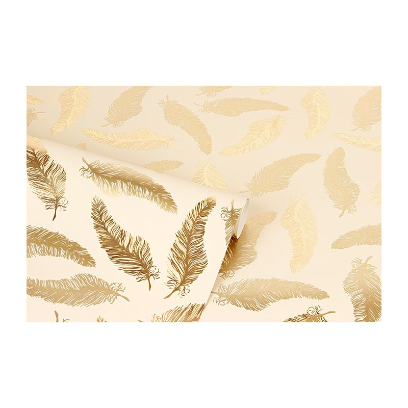 Beige wrapping paper with metallic gold leaf motifs