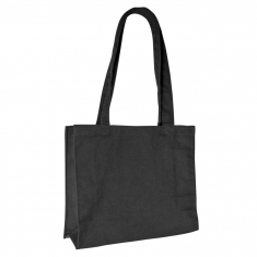 Black 100% cotton tote bag, 32.5x26x10.5 cm - Handle length : 59 cm