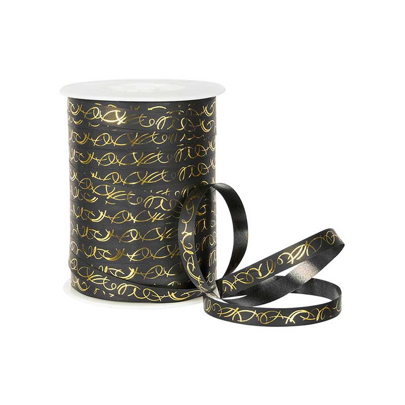 Black gift curling ribbon with gold arabesques