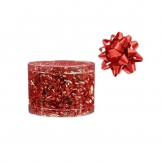 Box of 100 red metallic self-adhesive confetti bows, diametre 2.5cm