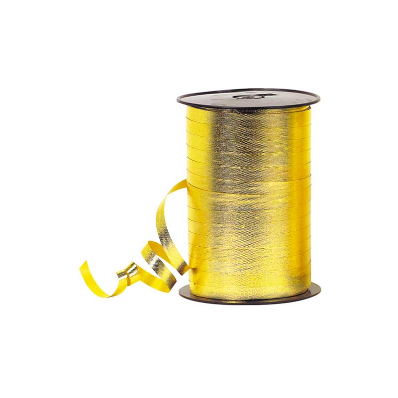 Embossed mirror-effect gold coloured gift curling ribbon, 7mm x 225m