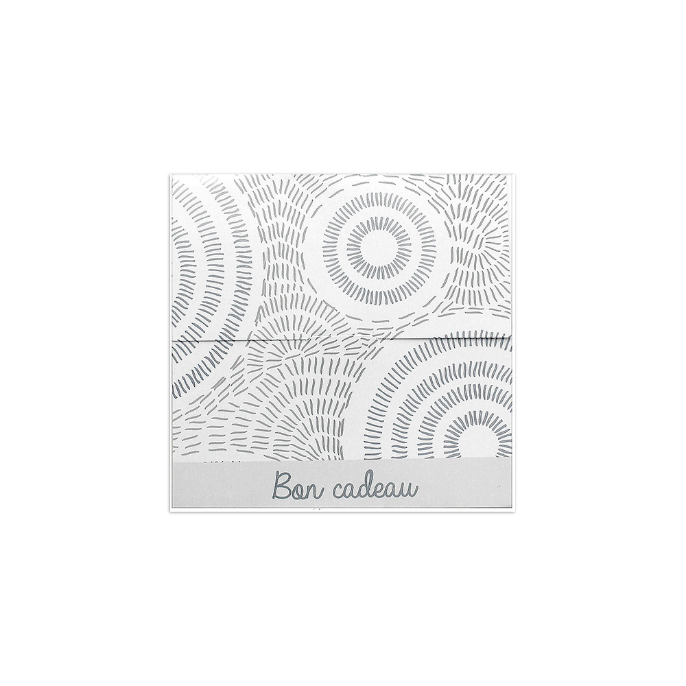 Gift voucher in white card with silver etched circle design (in French)