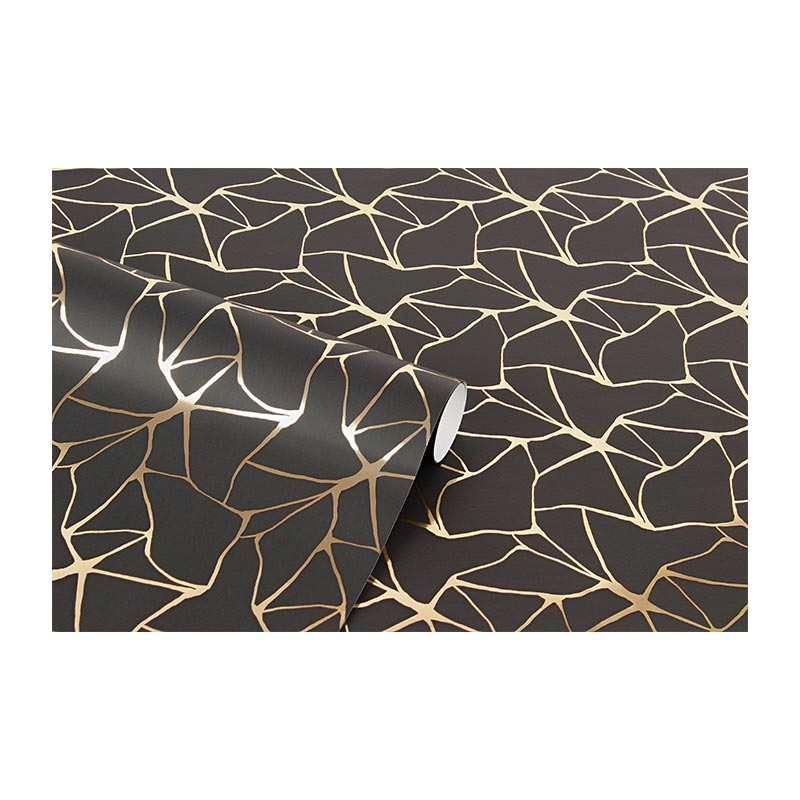 Black gift wrapping paper with metallic gold pattern