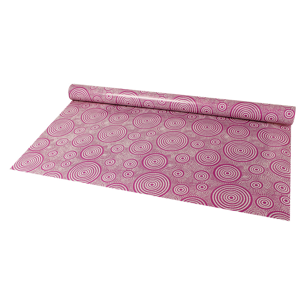 Matt purple gift wrap with white etched circle design