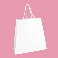 Gloss laminated white paper boutique bags - trapeze shaped