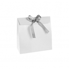Glossy white paper stand-up bags with silver-coloured ribbon tie, 190 g