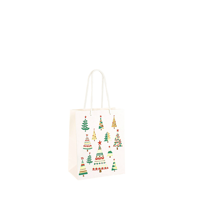 Hot-foil printed white carrier bags with Christmas tree motifs, 190 g
