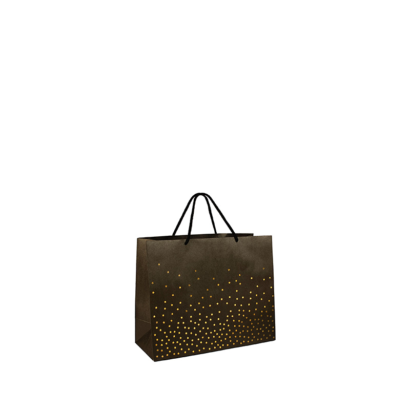 Kraft paper carrier bags with hot-foil printed star motifs 200 g