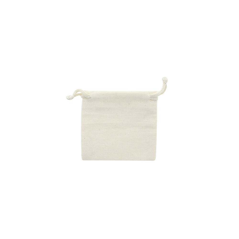 Light beige cotton pouches with matching drawstrings, 65g (x5)