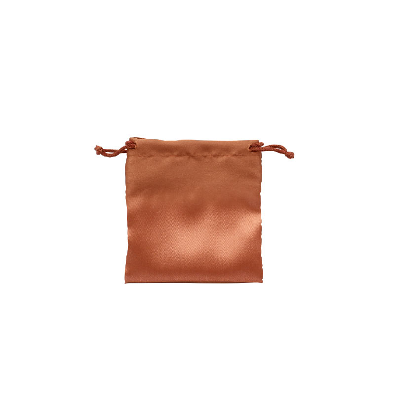Man-made satin finish pouches with cotton drawstrings