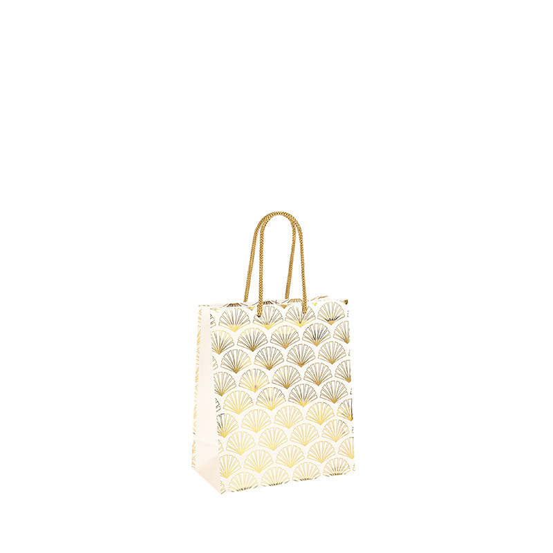 Matt finish white paper carrier bags with hot-foil printed gold fan motifs 157 g