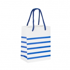 Matt paper carrier bag \\\'Breton stripe\\\' collection