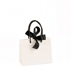 Matt paper carrier bags with satin ribbon