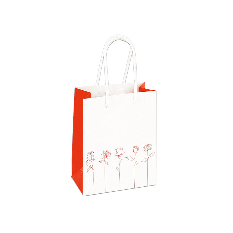 Matt white and red paper carrier bag with red roses, 190 g