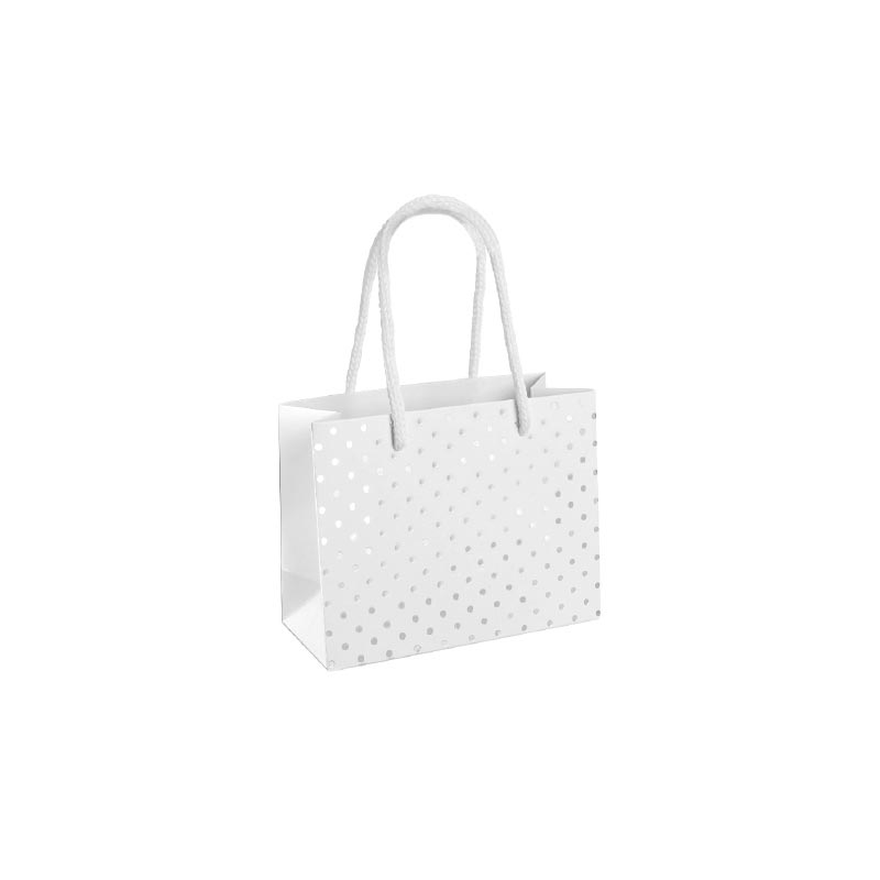 Matt white paper carrier bags with shiny silver polka dots 190 g