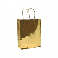 Mirror finish gold shiny paper carrier bags with twisted handles, 18 x 24 x 8cm, 100g