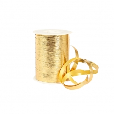 Mirror finish striated gold curling ribbon
