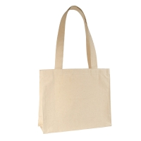 Natural coloured 100% cotton tote bag, 32.5x26x10.5 cm - Handle length : 59 cm