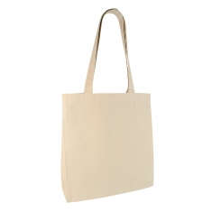 Natural coloured 100% cotton tote bag, 38x39x16 cm - Handle length : 71 cm