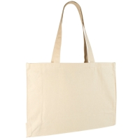Natural coloured 100% cotton tote bag, 50x37x16 cm - Handle length : 71 cm