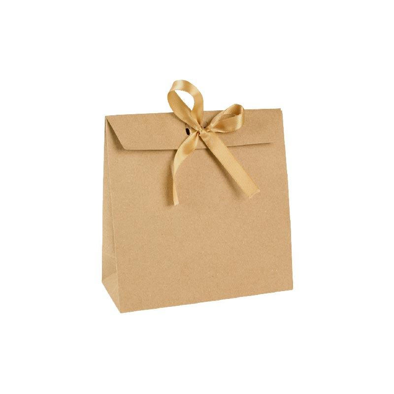 Natural kraft paper stand-up bags, gold-coloured satin ribbon tie, 200 g
