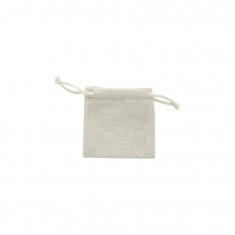 Natural linen pouches with beige cotton drawstrings, 75g (x 5)