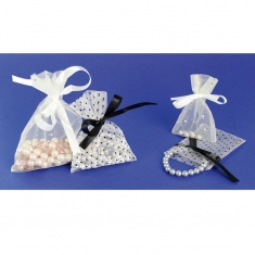 Organza pouches with polka dot pattern