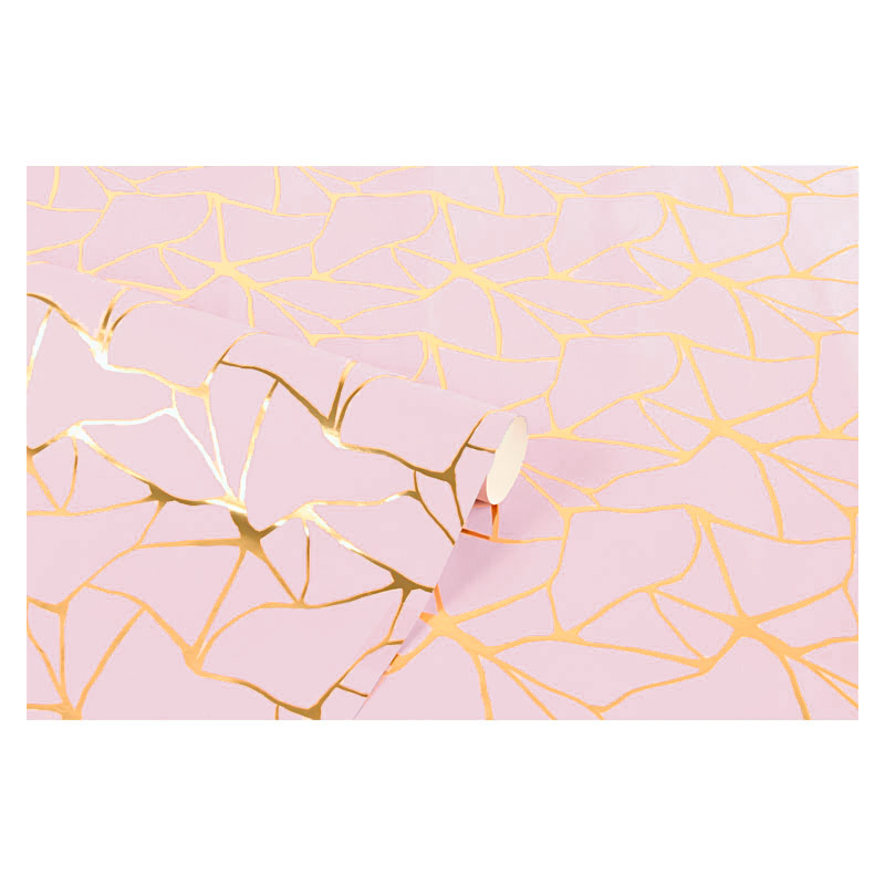 Pink gift wrapping paper with metallic gold design