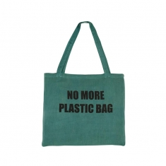 Reusable 100% cotton bag - with slogan \\\'No more plastic bag\\\' - 41 x 36cm (x5)