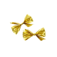 Self-adhesive metallic gold bows