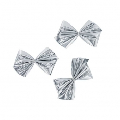 Self-adhesive metallic silver bows