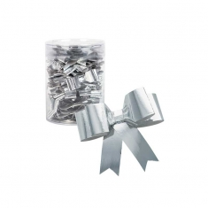 Self-adhesive silver bows 5.5cm