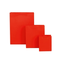 Set of 3 matt finish red paper carrier bags 190g