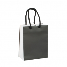 Two-tone matt paper carrier bag with contrasting gusset and rope handles