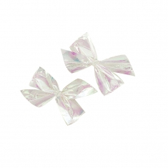 White metallic self-adhesive bows