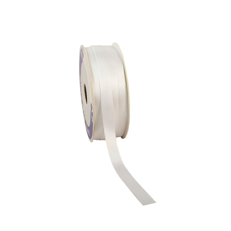White satin-finish ribbon, 12mm x 100m