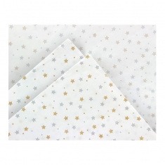White tissue paper with gold and silver stars