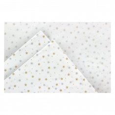 White tissue paper with silver and gold stars