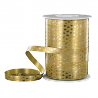 Gold-coloured Christmas tree gift curling ribbon