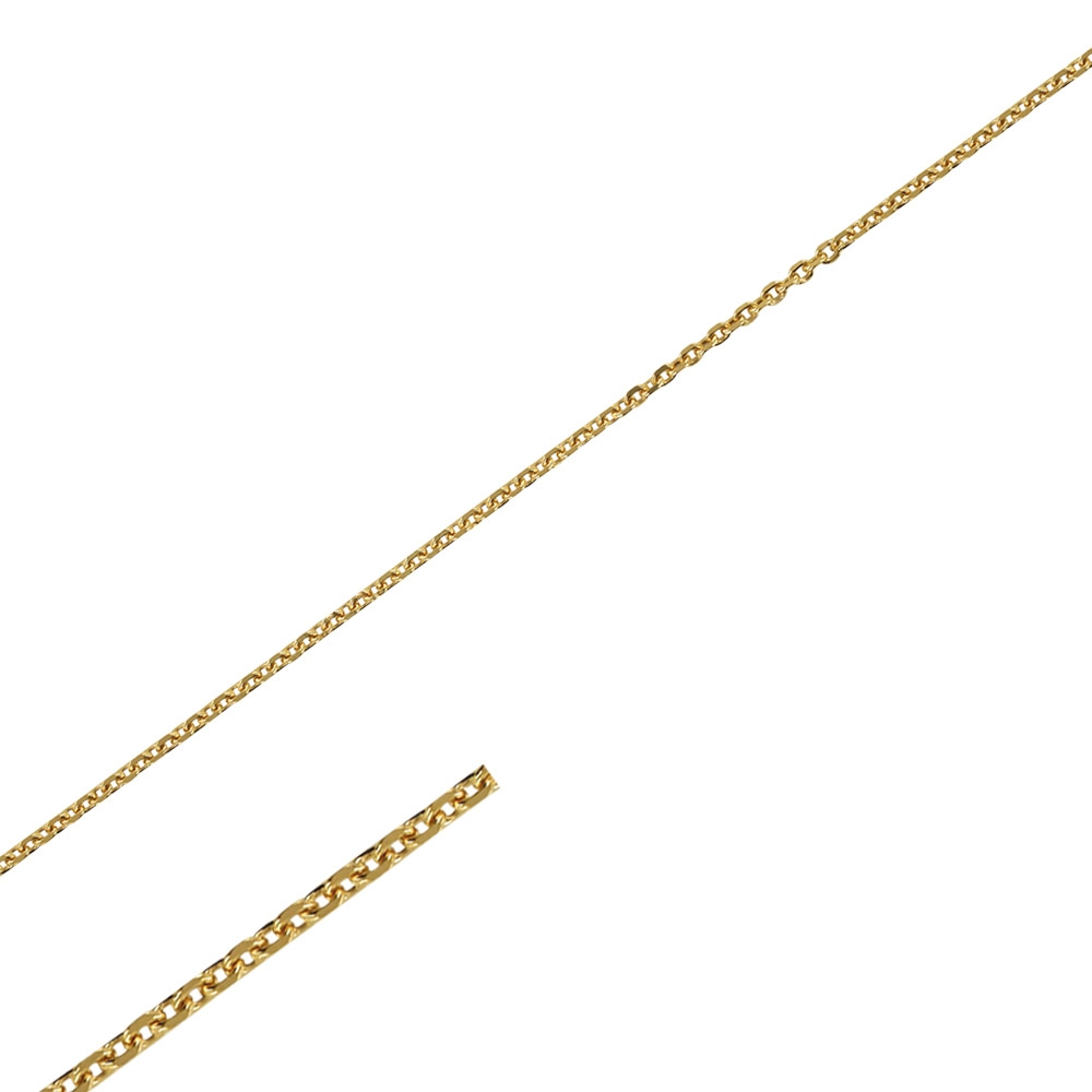 Gold coloured metal diamond cut trace chain sold by the metre