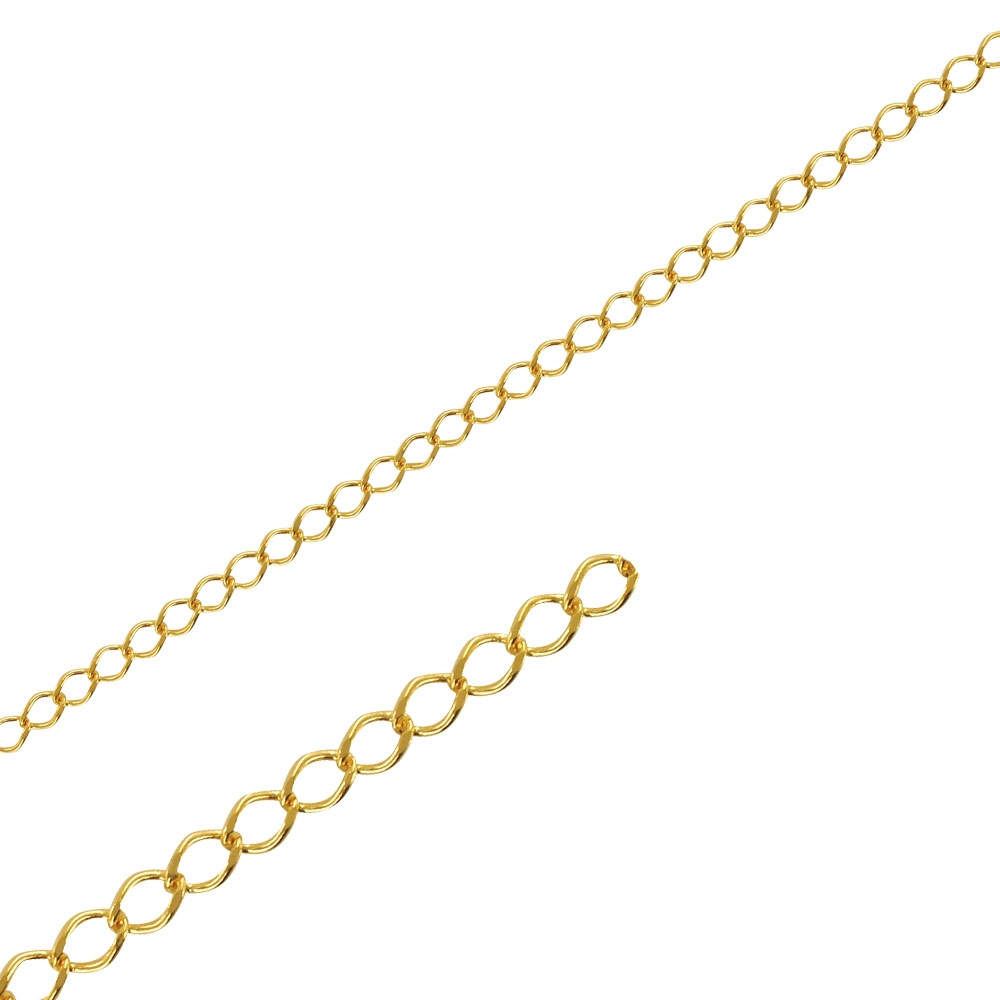 Gold-coloured metal rombo chain sold by the metre