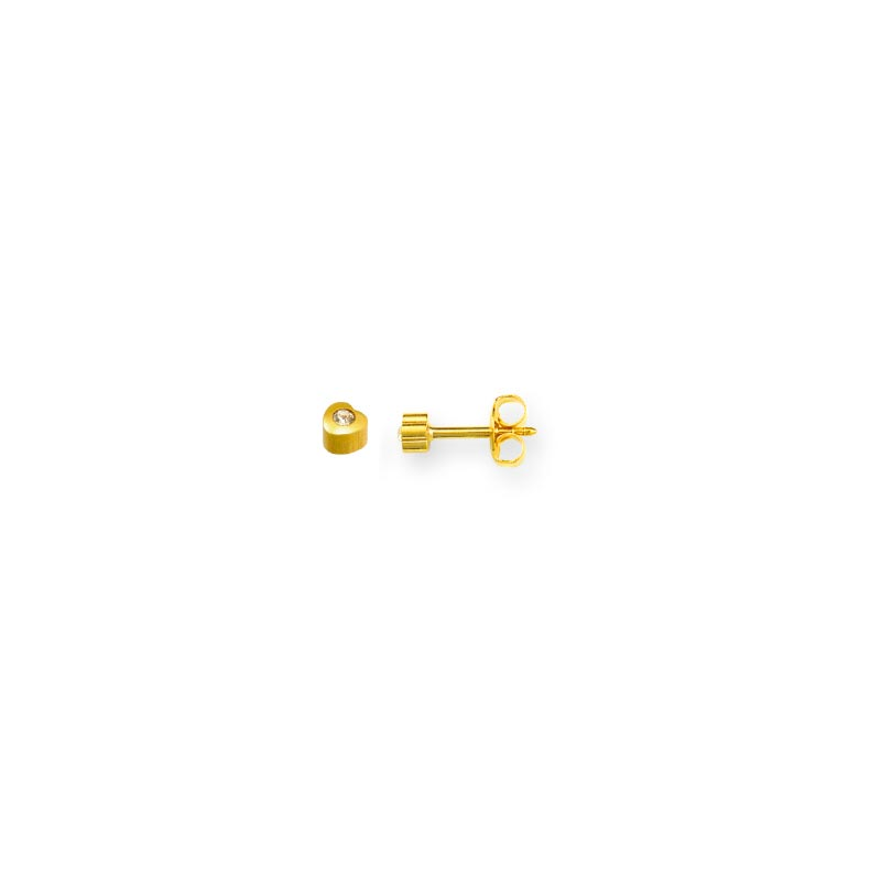 Heart shaped Caflon piercing studs in gold coloured stainless steel with bezel set crystal (x12)