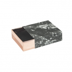 \\\'Black marble\\\' card matchbox trinket box with rose-gold drawer