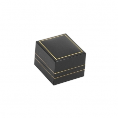 Black man-made leatherette jewellery presentation boxes with gold border
