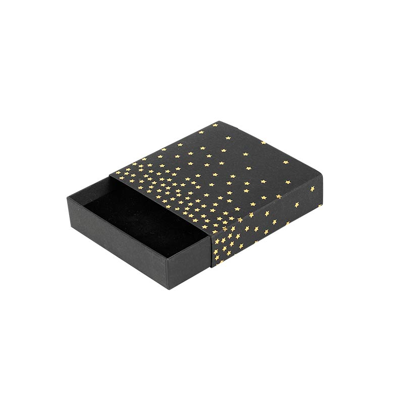 Black matchbox style kraft card universal box - Gold, hot-foil printed star motifs