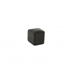 Black smooth finish man-made cowhide leatherette jewellery presentation boxes