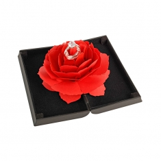 Black soft-touch finish ring box with red rose interior