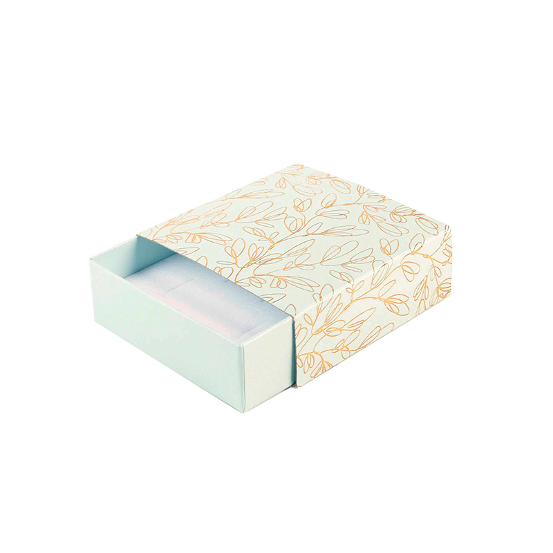 Greeny blue matchbox style card box - Gold hot-foil printed \\\'Botanical volutes\\\'