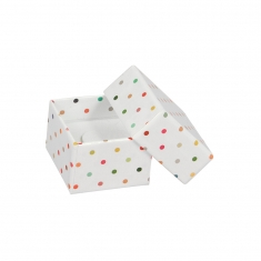 Laminated white card jewellery presentation box with multicoloured polkerdots
