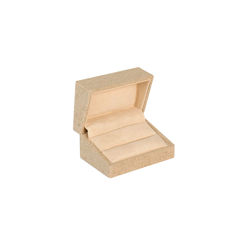 Linen and cotton mix presentation box for 2 wedding rings